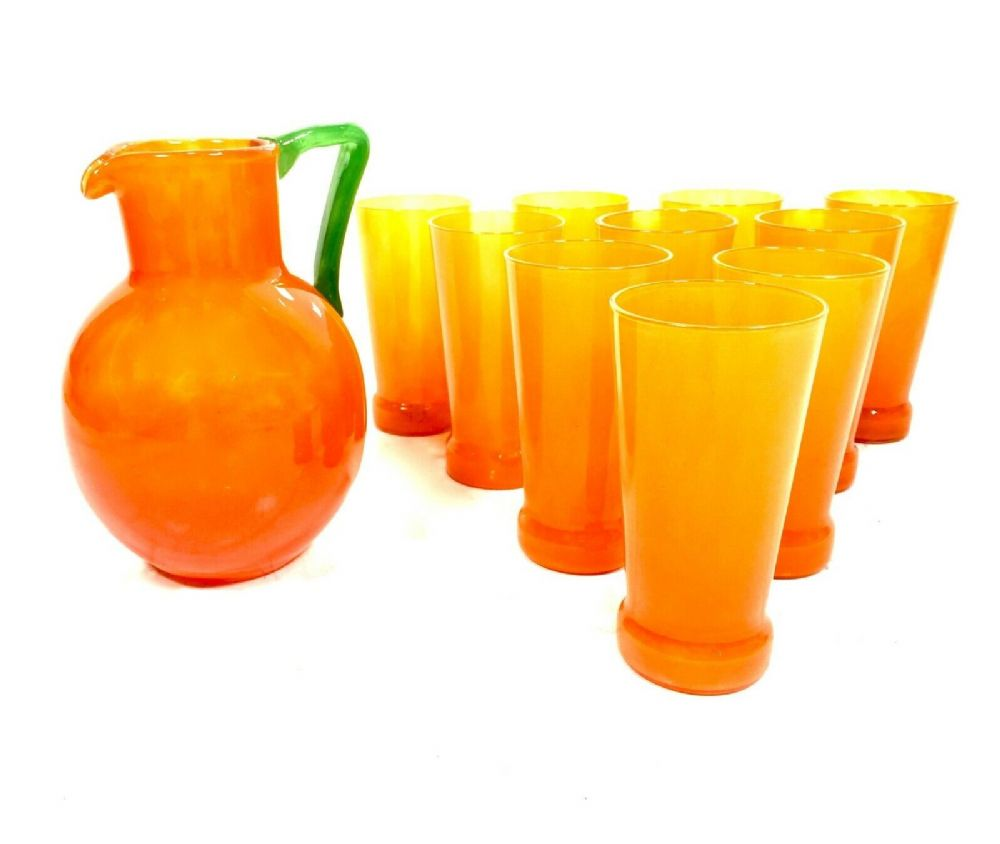 Art Deco Antique Charles Schneider Orange Glass Lemonade Jug & Tumbler Set RARE